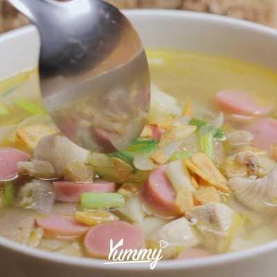 Step 5 Sup Ayam Macaroni Sosis