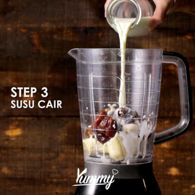Step 3 Pisang Kurma Smoothies Choco Dalgona